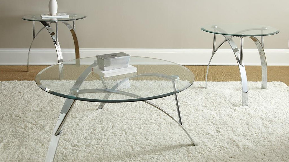 Glass Top Chrome Coffee Table Set of 3