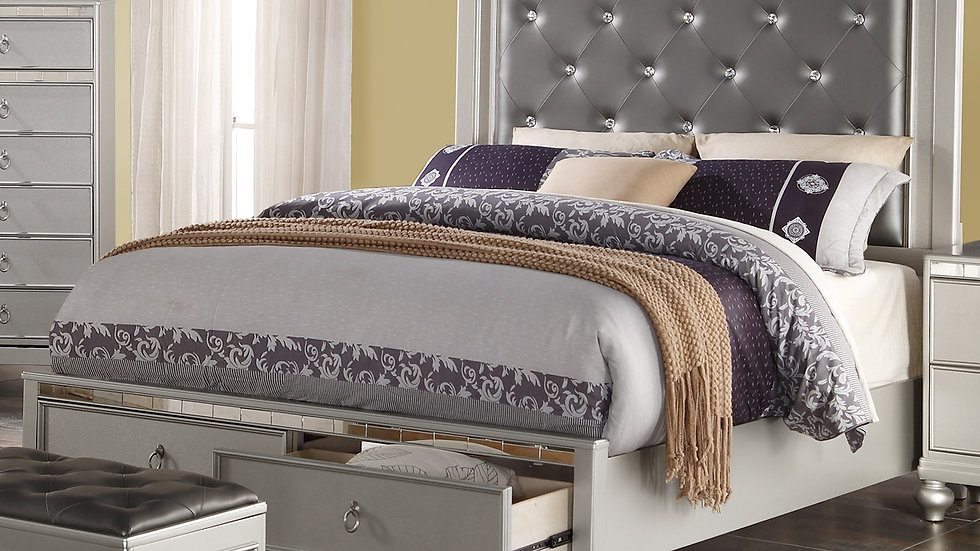 Silver Castle Queen Bed with Storage
