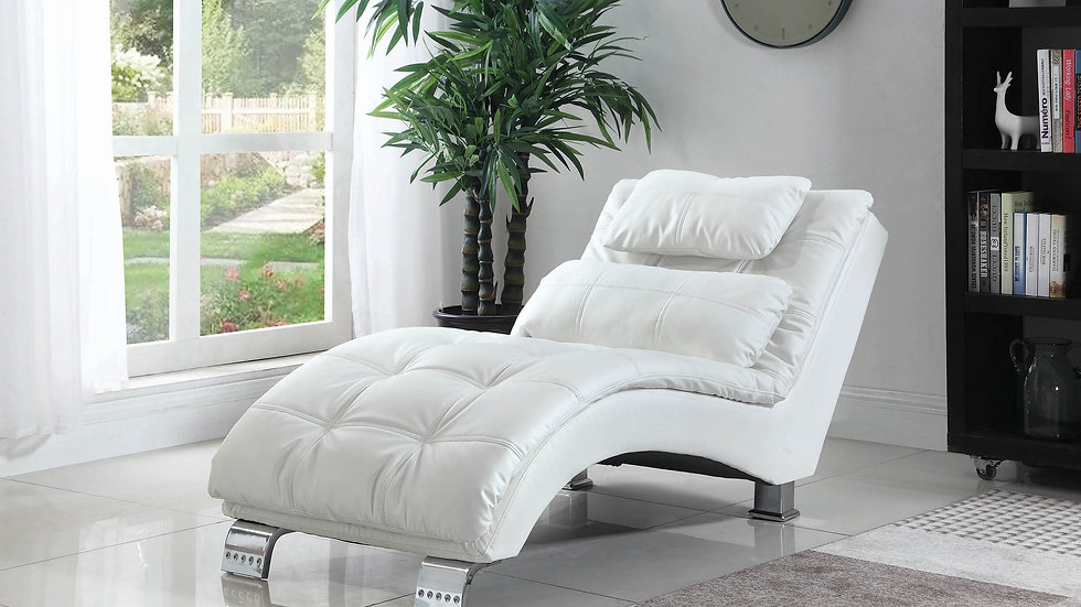 Contemporary White Faux Leather Chaise