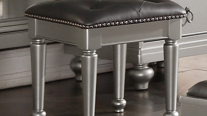 Silver Castle Vanity Dresser Storage Stool