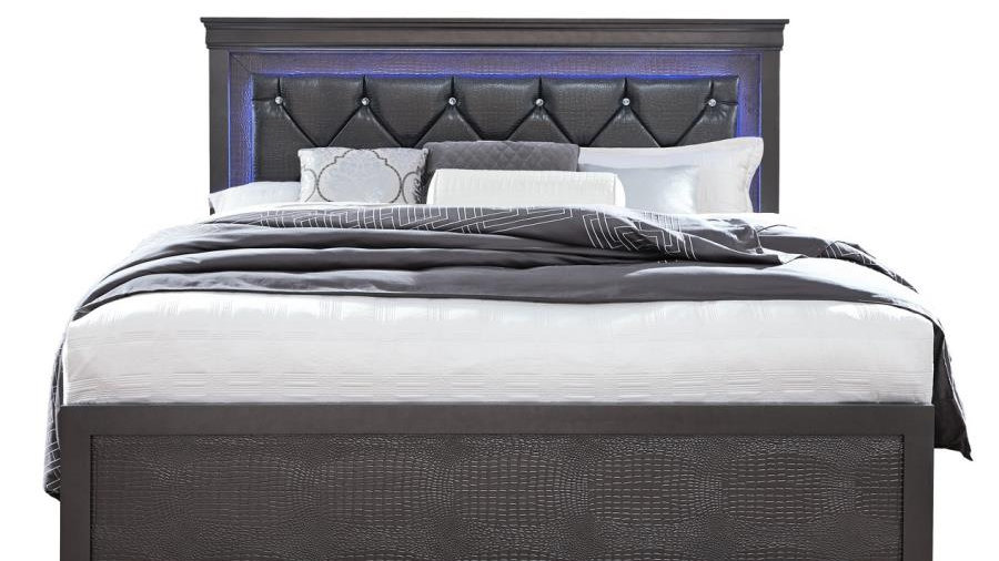 Pompei Metallic Grey King Bed with LED lights