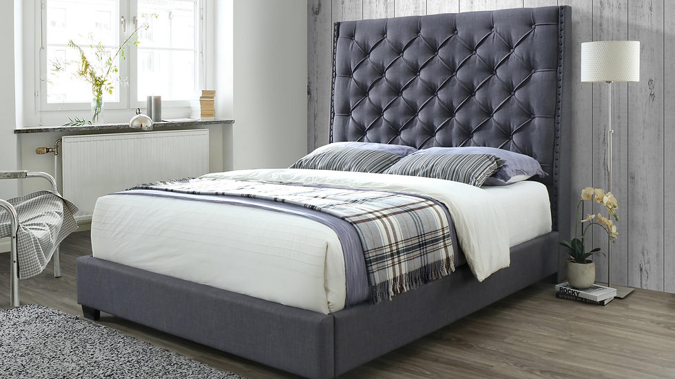 Queen Upholstered Bed in Grey