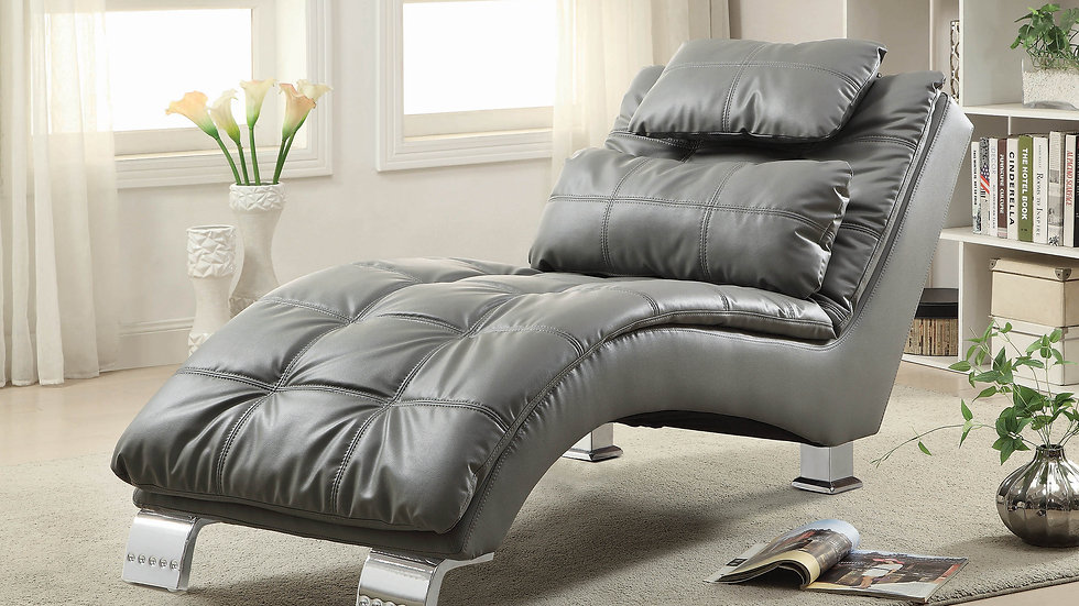 Contemporary Grey Faux Leather Chaise