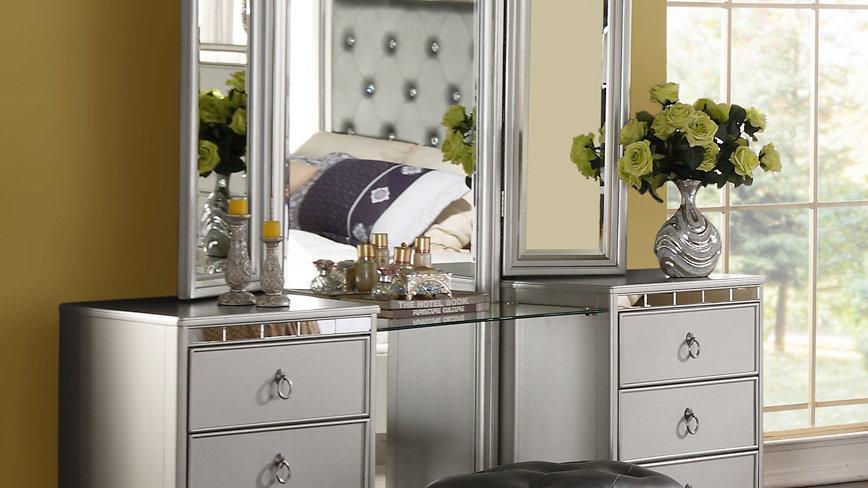 Silver Castle Vanity Dresser with Mirror