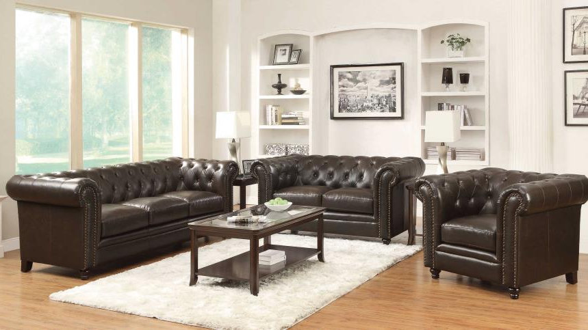 Roy Sofa & Loveseat Brown Bonded Leather