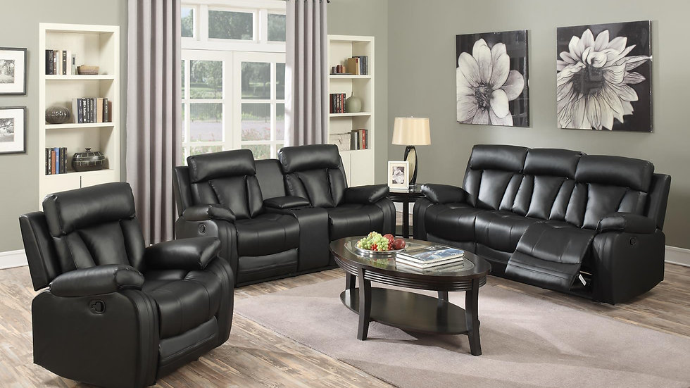 Matt Bonded Leather Reclining Sofa