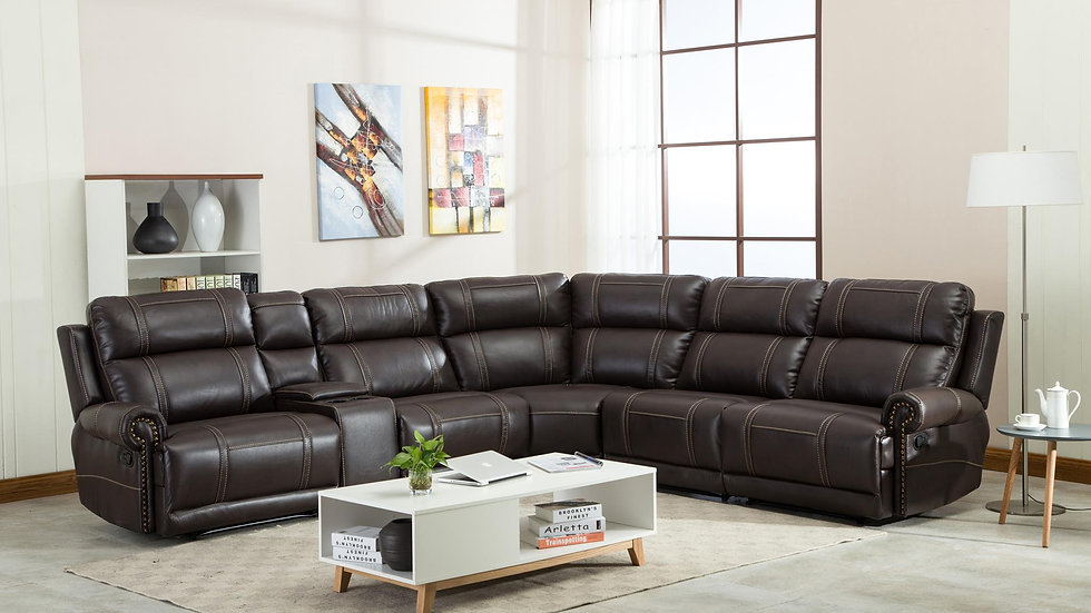 Motion Sectional in Brown Leather