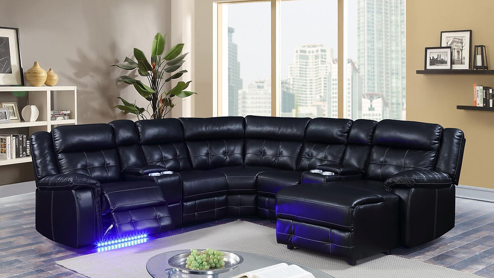 Power Leather Sectional with Chaise