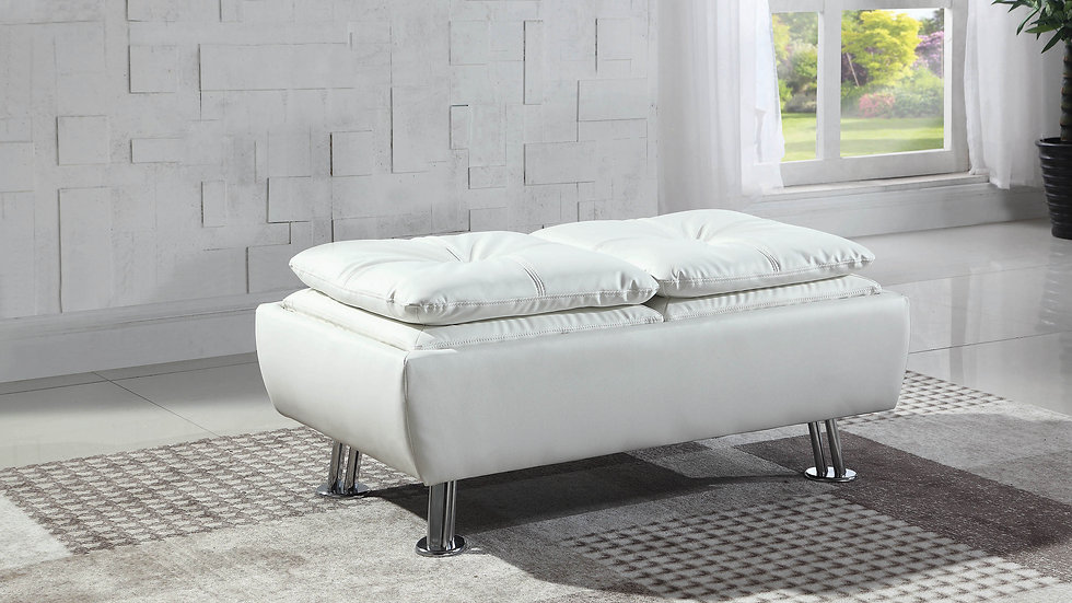 Dilleston Contemporary White Ottoman