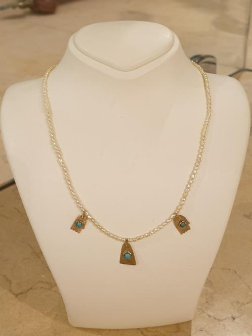 Three hamsas necklace