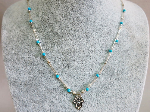 925 silver necklace with blue stones and Hamsa