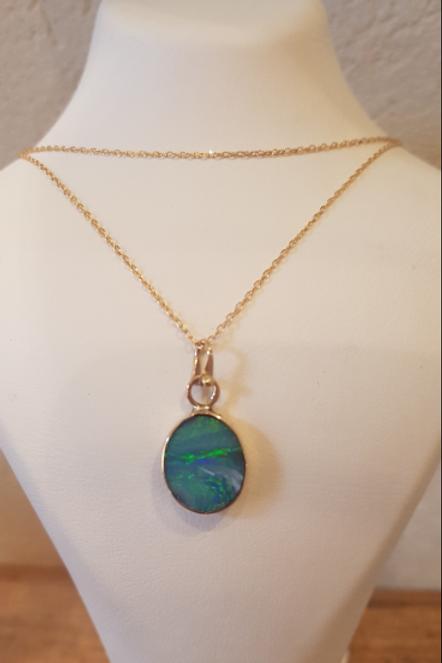 שרשרת זהב 14 קארט בשילוב אבן כחולה