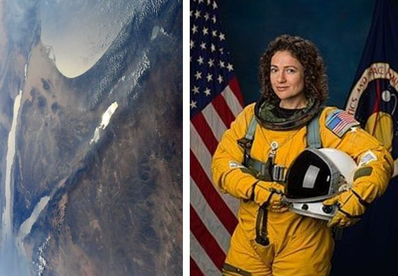 Right: Against the backdrop of US and NASA flags, is a figure of a woman dressed in a yellow space suit, the American flag sewn on her shoulder and she holds a helmet in her hands. Left: A photograph of the State of Israel from space in which are seen: land, vegetation, the Mediterranean Sea, the Sea of Galilee, the Dead Sea, the Gulf of Eilat and the Red Sea.