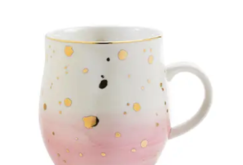 Pinky Up- Pink and Gold Ceramic Mug