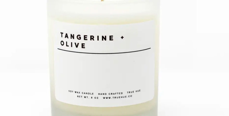 True Hue- Tangerine+Olive Candle