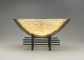 17 Inch Golden Sunset Oval Vessel 3 Tier Pedestal