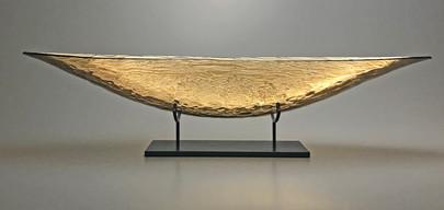 30 Inch Golden Sunset Boat with Granite Pedestal