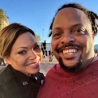 R.J. with actress Tisha Campbell