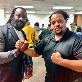 R.J. with 6X World Champion wrestler, WWE's Booker T.