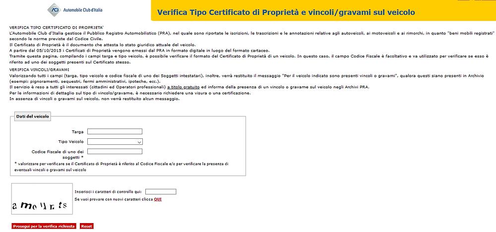 verificare gratis fermi amministrativi auto ACI PRA