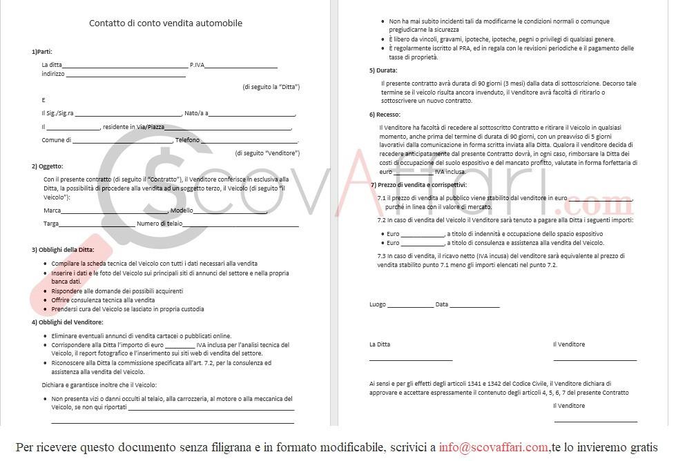 Contratto di conto vendita auto downolad gratis word pdf