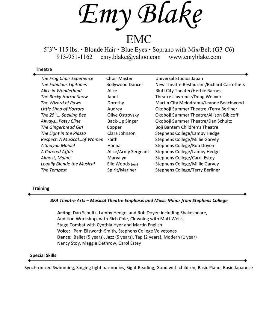 emy blake resume resume