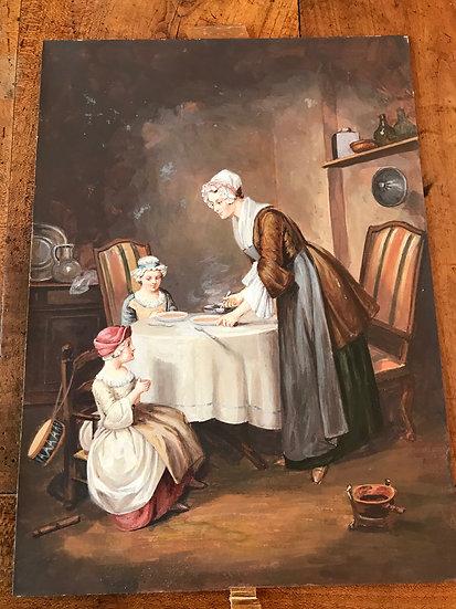 Paire de gouaches par Magden d'époque XIX ème : Scènes d'intérieur du XVIII ème
