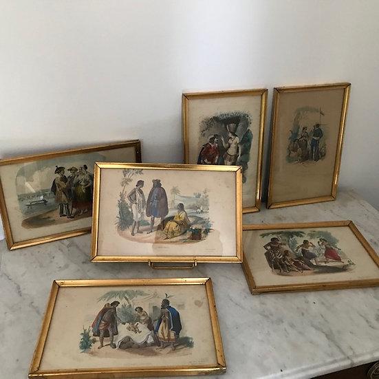 6 gravures anciennes polychromes d'époque XIX ème : voyage autour du monde
