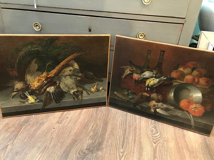 Paire de tableaux anciens nature morte trophée de chasse époque XIX