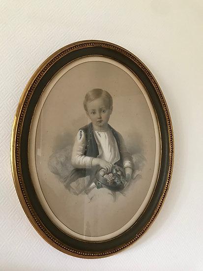Gravure ancienne rehaussée à la gouache : un enfant mangeant des fruits