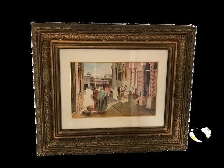 Tableau ancien orientaliste fin XIX début XX ème à l'aquarelle