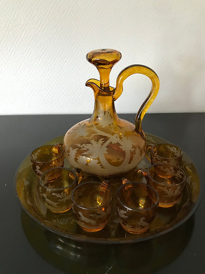 Service à liqueur en cristal de bohème époque XIX ème siècle