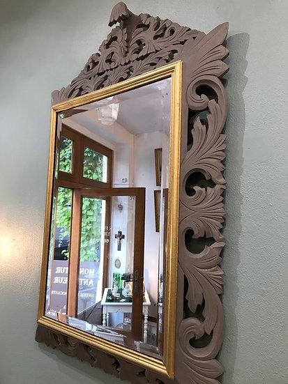 Miroir renaissance époque XIX ème patiné gris et or