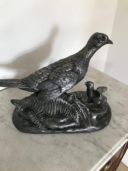 Statue animalière : la poule faisane de L Carvin époque art déco