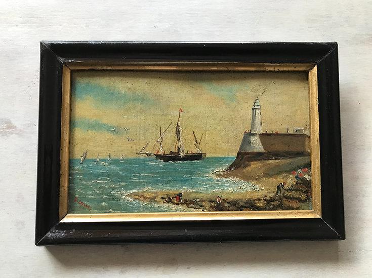 Petit tableau ancien Marine  HSP huile sur panneau milieu du XIX ème
