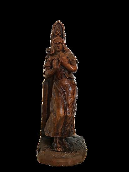 Statue de dévotion en bois du XIX ème siècle: probablement Sainte Blandine