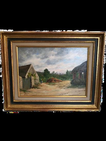tableau ancien huile sur panneau : une ferme en Bretagne époque début XX ème