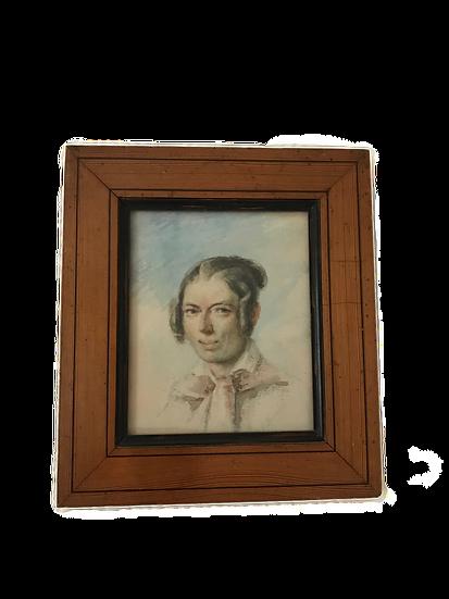 Petit tableau ancien portrait à la gouache  époque XIX ème vers 1840