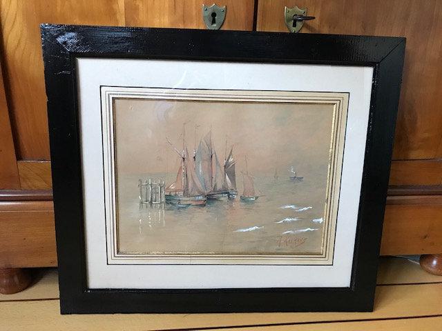 Tableau ancien marine XIX ème aquarelle réhaussée gouache