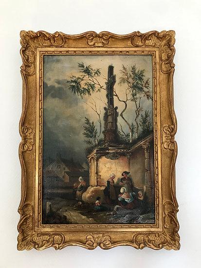 Tableau Ancien Huile Sur Toile Hst époque XIX ème Datée Et Signée : Le Petit Cal