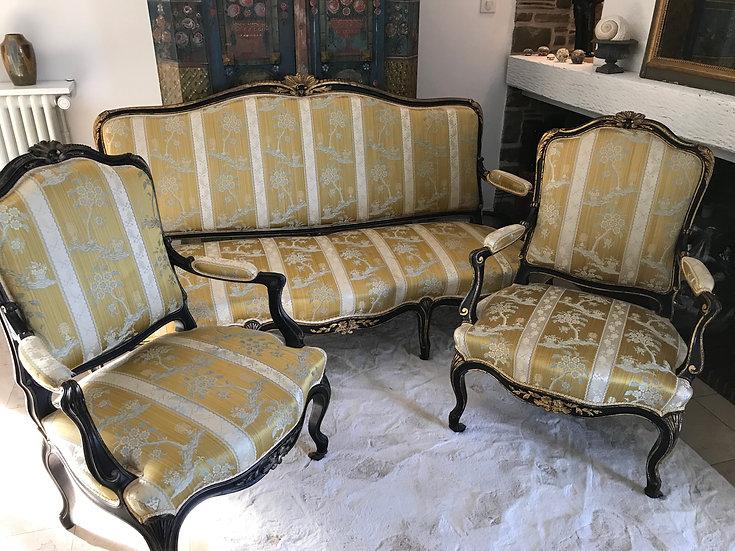 Très joli salon canapé 2 fauteuils style Louis XV époque XIX ème en bois laqué