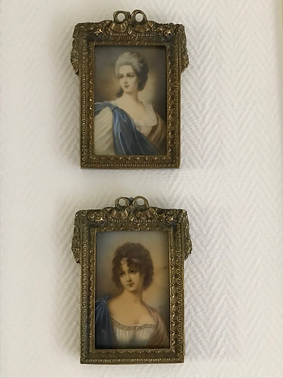 Paire de tableaux portrait miniatures sur ivoire dans un cadre bronze  XIX ème