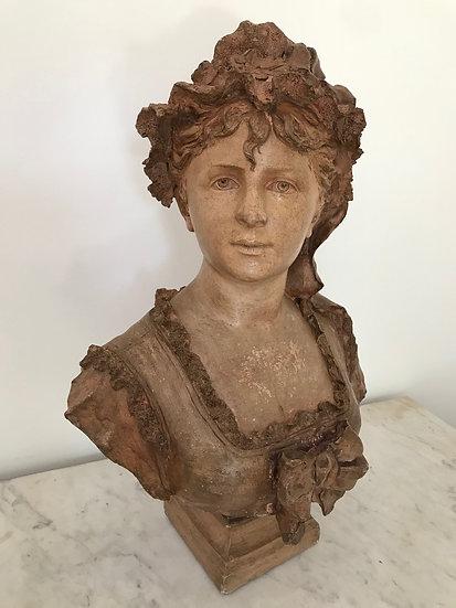 Ancien buste en terre cuite époque XIX ème signé de J Gagrling