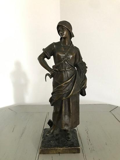 Statue en bronze d'époque XIX ème siècle: la moisson par E. Thivier