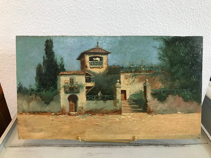 Tableau ancien Huile sur panneau milieu du XIX ème siècle école italienne