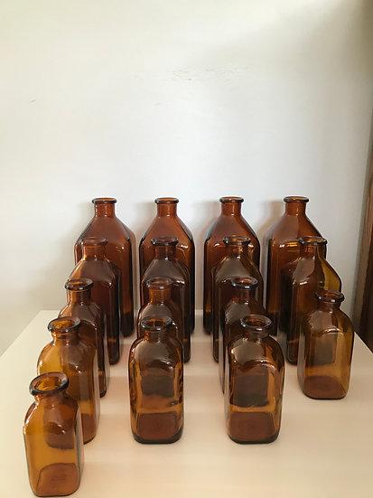 Lot de pots flacons à pharmacie / laboratoire chimie milieu du XX ème vintage