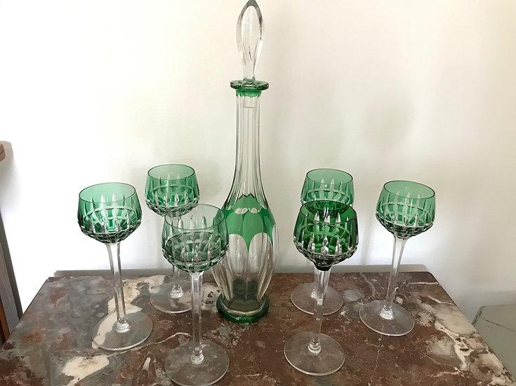 Bel ensemble carafe et verres à pied en cristal de Saint Louis Epoque XX ème