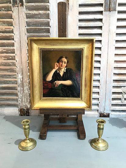 Tableau ancien portrait du XIX ème sur panneau acajou HSP