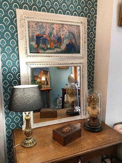 Trumeau miroir ancien en chêne Patiné d'époque Art déco Style Louis XVI