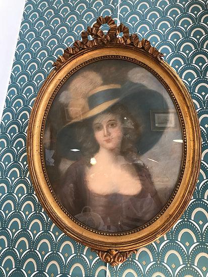 Grand pastel: la femme au chapeau époque fin XIX ème début XX ème